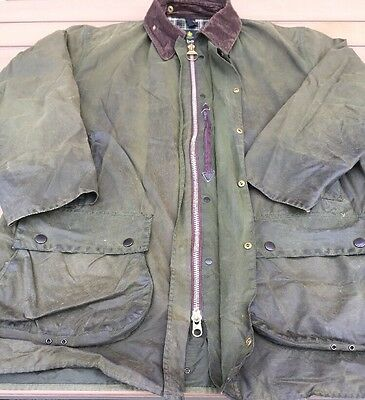 Barbour Wax Jacket Border C44/112cm. Green VGC (Small Hole To Sleeve) See Des