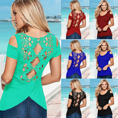 Women's Cold Shoulder T-shirt  Hollow Lace Back Short Sleeve Casual Blouse Tops