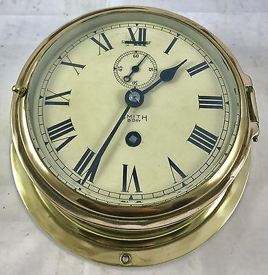 Smiths 8 Day Brass Ships Marine Style Bulkhead Bulk Head Brass Cased Clock