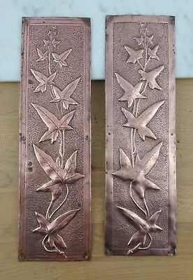 Pair of Vintage Copper Door Push Plates with Leaf Design, Antique Finger Plates