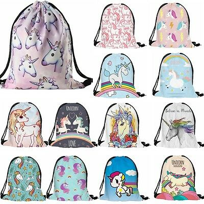 Unicorn Drawstring Backpack Bags Sack Cinch Sport Gym Swim School Book Rucksack