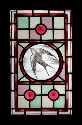 Stunning Rare Painted Swallow In Flight Victorian Rondels Stained Glass Window