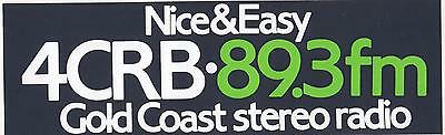 Nice & Easy 4CRB 89.3 FM Gold Coast stereo radio 1980's sticker 18.5cm long