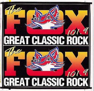 The FOX FM 101.9 Great Classic Rock pair of 1980's stickers 9cm x 19cm