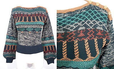 1970's SPACE DYED SWEATER Buttoned Shoulders Arpeja Balloon Sleeves 70's Xs/S