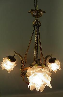 Antique French Bronze Empire style Chandelier Frosted Glass Tulip Flame Shades