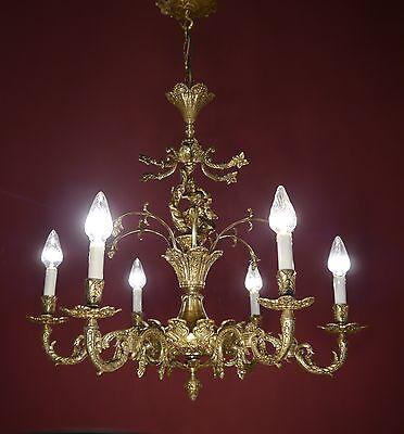 Antique & Beautiful Baroque Lady Chandelier Brass Old Vintage