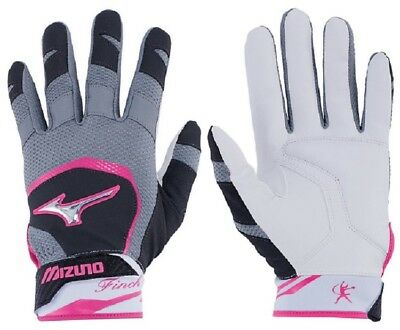 1pr 2018 Mizuno 330387 Adult Medium Black / Pink Finch Womens Batting Gloves New