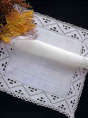 """Tablecloth Antique Italian White Linen Handmade Needle Lace & Embroidery 20"""""""