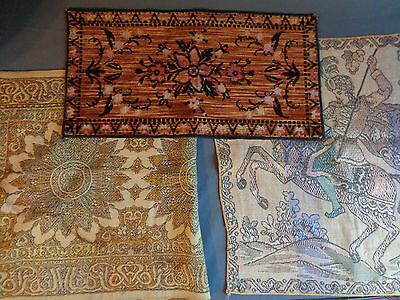Lot of 3 Small Antique Vintage Tapestries Persian Knight Floral