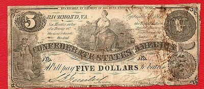 CONFEDERATE STATES - RICHMOND $5 Five Dollar Civil War Currency Money Note 1861