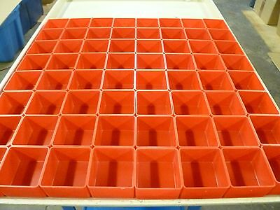 "64 3""x3""x2"" Red Plastic Boxes for Vertical Lift Storage System Bins Trays Cups"