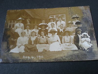 Old real photo postcard Ipstones school staff Staffordshire 1911