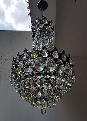 Antique French Basket Style Brass & Crystals LARGE Chandelier from 1950's  This