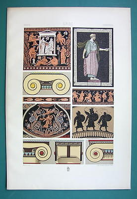 GREECE Polychrome Ornaments Mosaics Capitals - COLOR Litho Print A. Racinet
