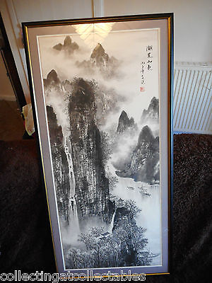 Large Vintage Chinese Ink Wash Painting Mountain Village Scene (Signed)
