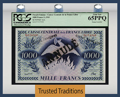 Tt Pk 16A 1941 French Guiana 1000 Francs Pcgs 65Ppq Gem New Pop 1 Only One Finer
