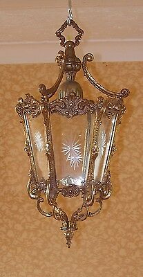 ANTIQUE BRASS & ETCHED GLASS HALL LANTERN CHANDELIER HANGING LIGHT FRENCH 1940s