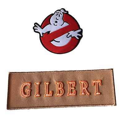Ghostbusters New Movie No Ghost With GILBERT Tan Name Tag Costume 2 Patch Set