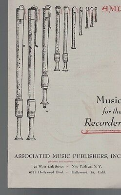 Music for the Recorder 1953 Catalog Associated Music 1953