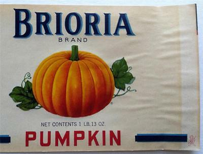 1930's Brioria Brand Pumpkin Can Label Brighton Canning Co. Brighton Iowa