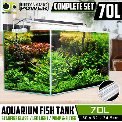 Aquarium Fish Tank Nano STARFIRE LED Light Complete Set Filter Pump 70L