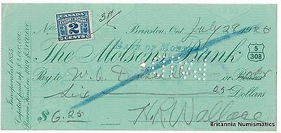 THE MOLSONS BANK stamped Bank of Montreal Brinston ON Canada 1926 Cheque