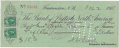 THE BANK OF BRITISH NORTH AMERICA Fredericton NB Canada 1918 Cheque