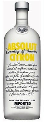 Absolut Citron Vodka (12 x 1000mL)