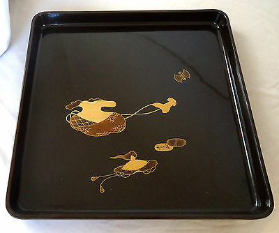 Authentic Antique Black Japanese Square Lacquered Serving Tray (1930 - 1950)