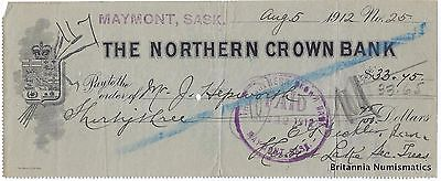 THE NORTHERN CROWN BANK Maymont SK Canada 1912 Cheque