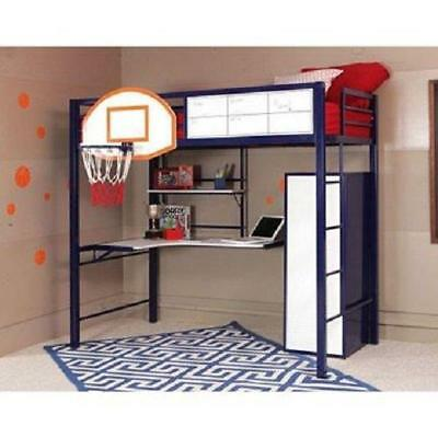 Powell Hoops Basketball Twin Loft Bed with Desk-For the Athlete in your Home- S