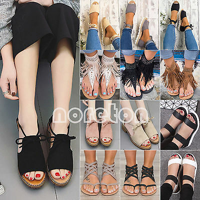 Women Lady Bohemian Low Flat Heel Strappy Sandals Flip Flops Summer Casual Shoes