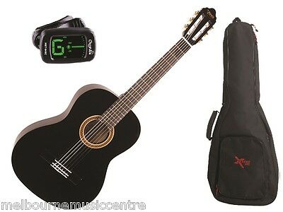 VALENCIA BLACK HALF SIZE (1/2) GUITAR PACK *Inc Guitar, Padded Bag,Tuner* NEW!