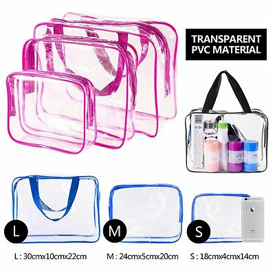 3Pcs Waterproof Cosmetic Makeup Toiletry Clear PVC Travel Wash Bag Holder Pouch