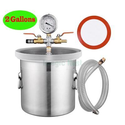 2 Gallon Vacuum Chamber Tank Silicone Resin Deaeration Barrel Seals Adjustable