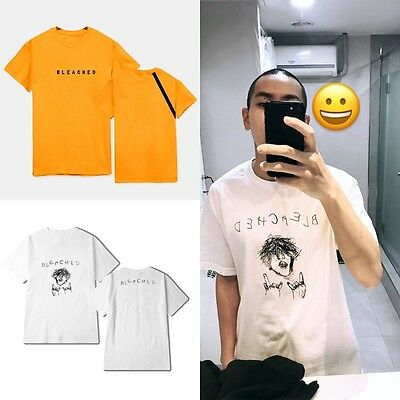 Kpop Loco Bleached Shirts Pullover Cotton Shirts Unisex Loose Short Sleeve