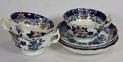 Set of 3 Antique Welsh Gaudy Ware Cups & Saucers - H & B - Imari Colourway