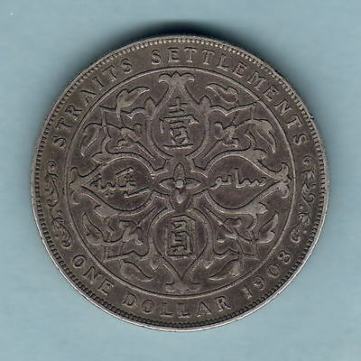 Straits Settlements. 1908 One Dollar..  aVFVF
