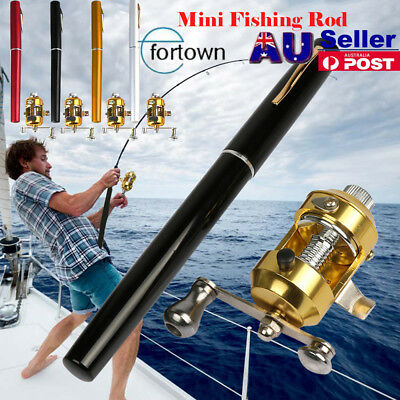 AU Telescopic Mini Portable Pocket Fish Pen Aluminum Alloy Fishing Rod Pole+Reel