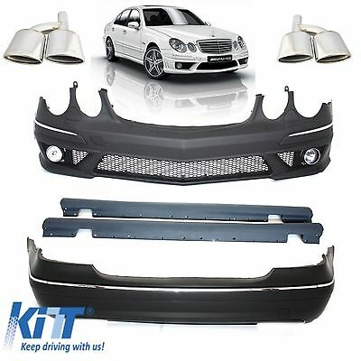 Mercedes W211 AMG E63 Complete Body Kit  Side Skirts Bumper W/O PDC + Exhaust