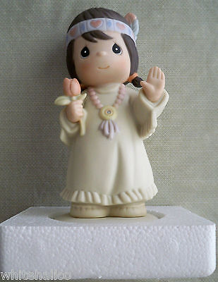 1993 Precious Moments Bless-Um You Indian Maiden Girl MIB Figurine 527335