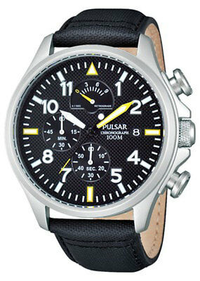 PNP PS6053X1 Pulsar Mens Aviator Style Chronograph Leather Strap Watch