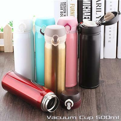 Vacuum Cup Flask Unbreakable Stainless Steel Coffee Bottle Thermos 500 ml New AI