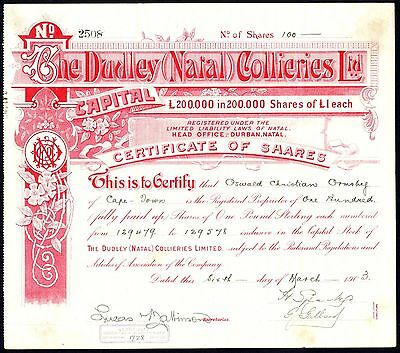 South Africa: Dudley (Natal) Collieries Ltd., £1 shares, 1903