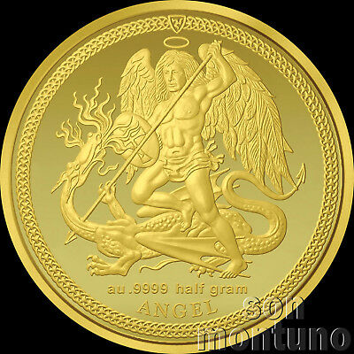 2017 Isle of Man - GOLD ANGEL & DRAGON COIN - 1/2 Gram 11mm Pure 24K .9999 Proof