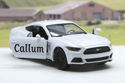 PERSONALISED NAME White Ford Mustang GT Boys Toy Dad Car Birthday Present Gift