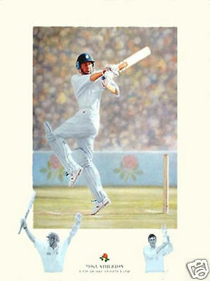 Genuine Mike Atherton Signed Autographed Cricket Print AFTAL RD#175