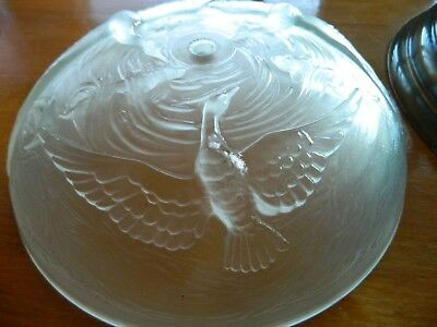 1 of 13 Salvaged Glass Ceiling Light Embossed Glass Geese/Swan Design