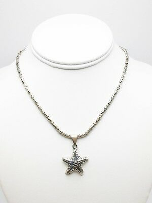 Sterling Silver 925 Statement Starfish Pendant Byzantine Chain Link Necklace